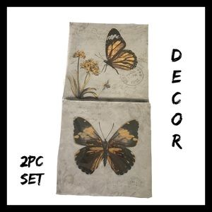 2Pc Butterfly Canvas Wall Art Set NIB